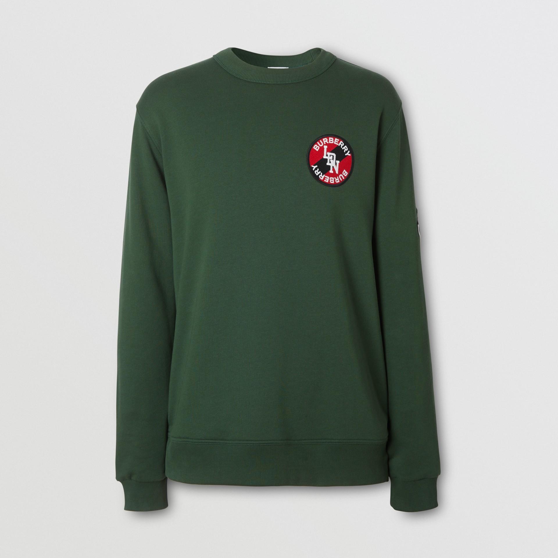 Logo Graphic Cotton Sweatshirt in Dark Pine Green - Men | Burberry - gallery image 3