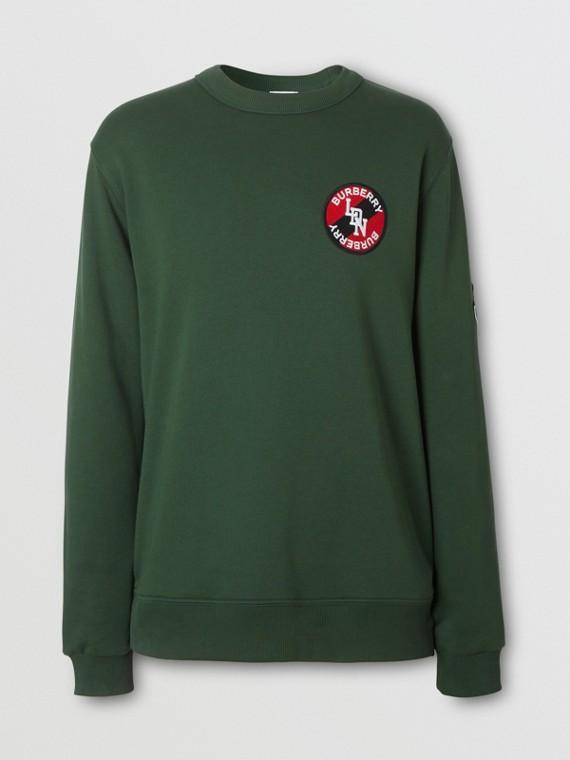 Logo Graphic Cotton Sweatshirt in Dark Pine Green