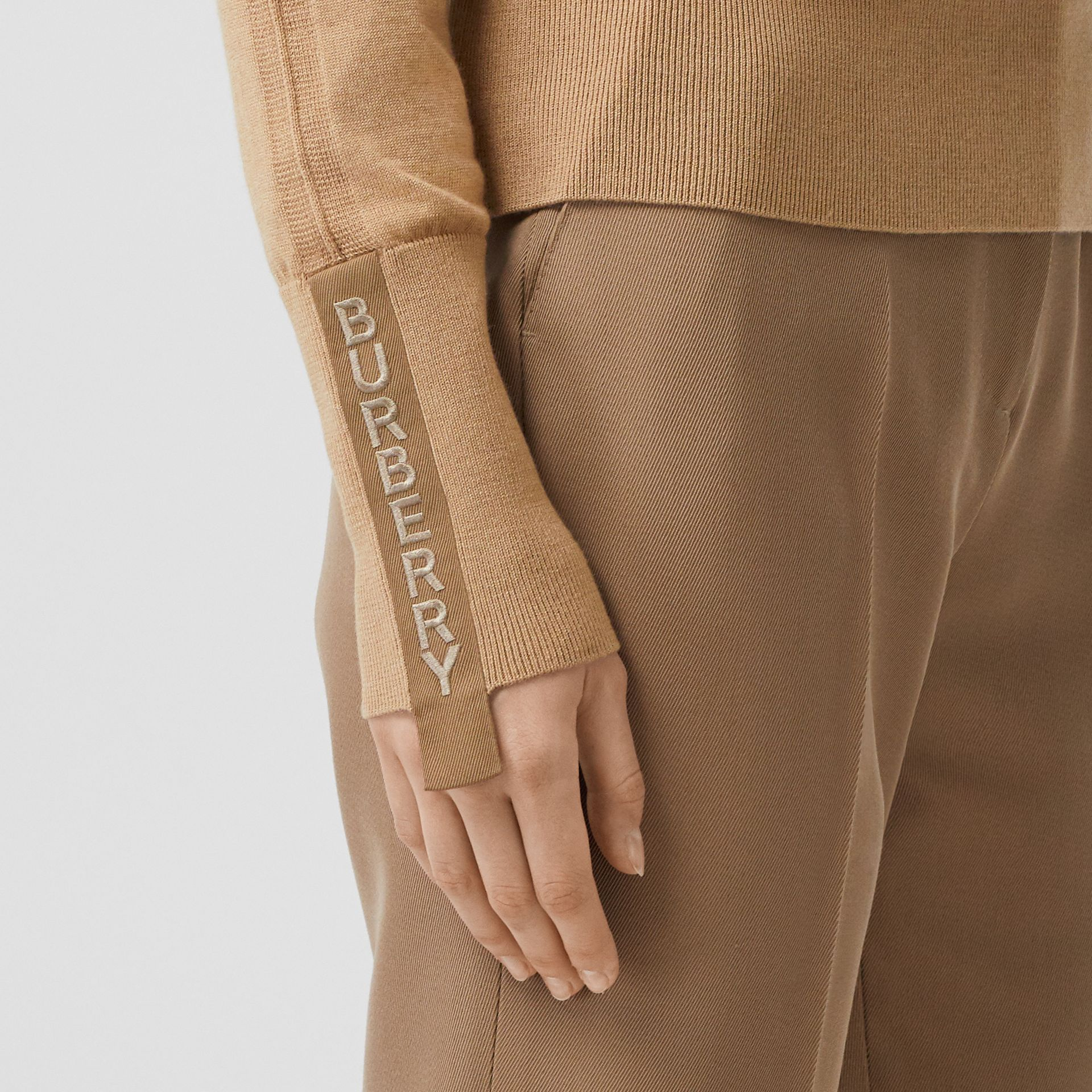Logo Detail Merino Wool Silk Sweater in Biscuit - Women | Burberry Singapore - gallery image 1