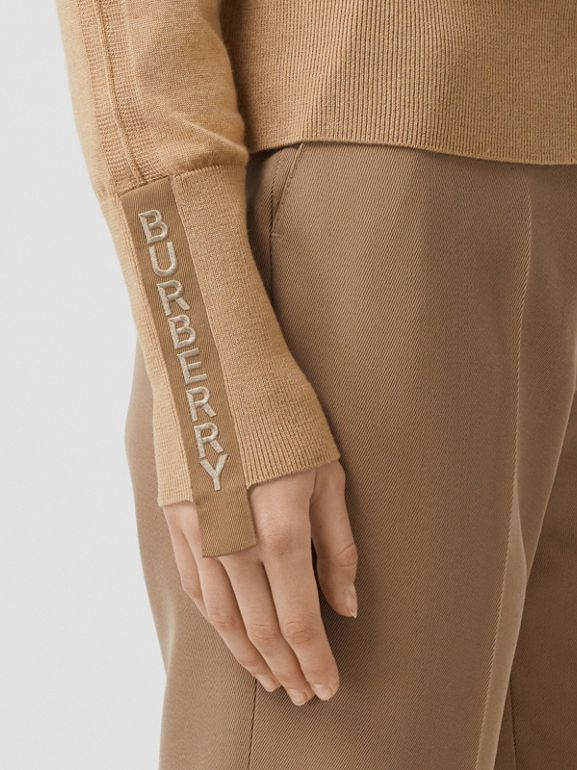 Logo Detail Merino Wool Silk Sweater in Biscuit - Women | Burberry Singapore - cell image 1