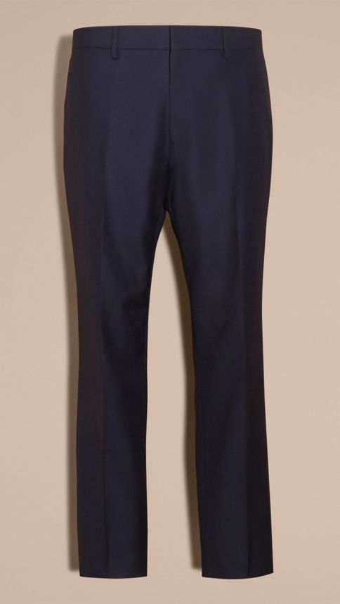 Navy Classic Fit Wool Part-canvas Suit Navy - Image 10
