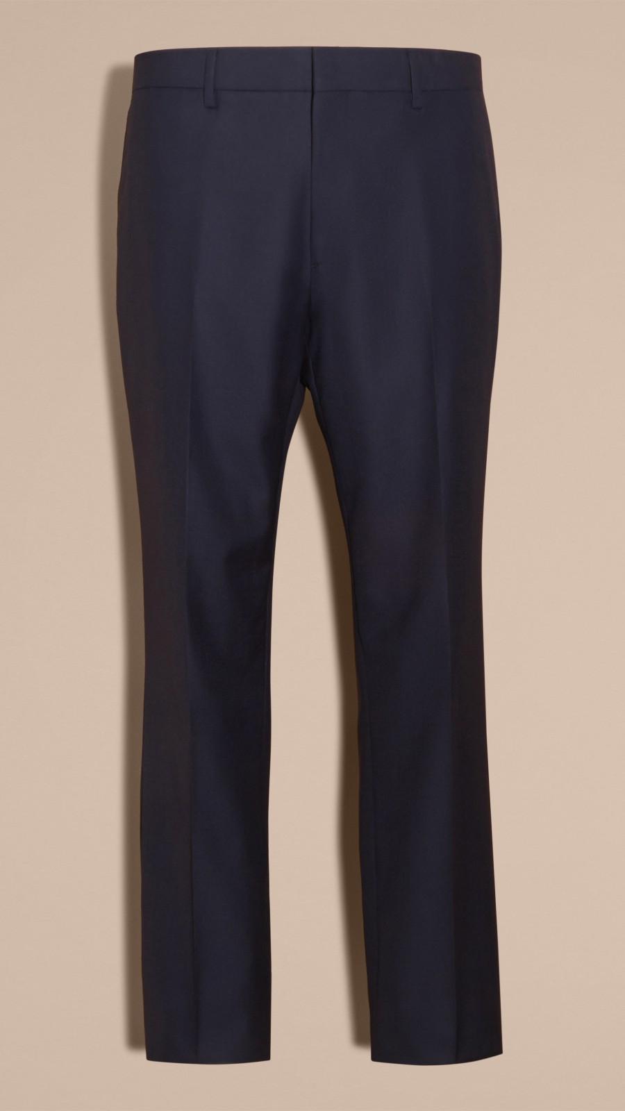Navy Classic Fit Wool Part-canvas Suit Navy - Image 10