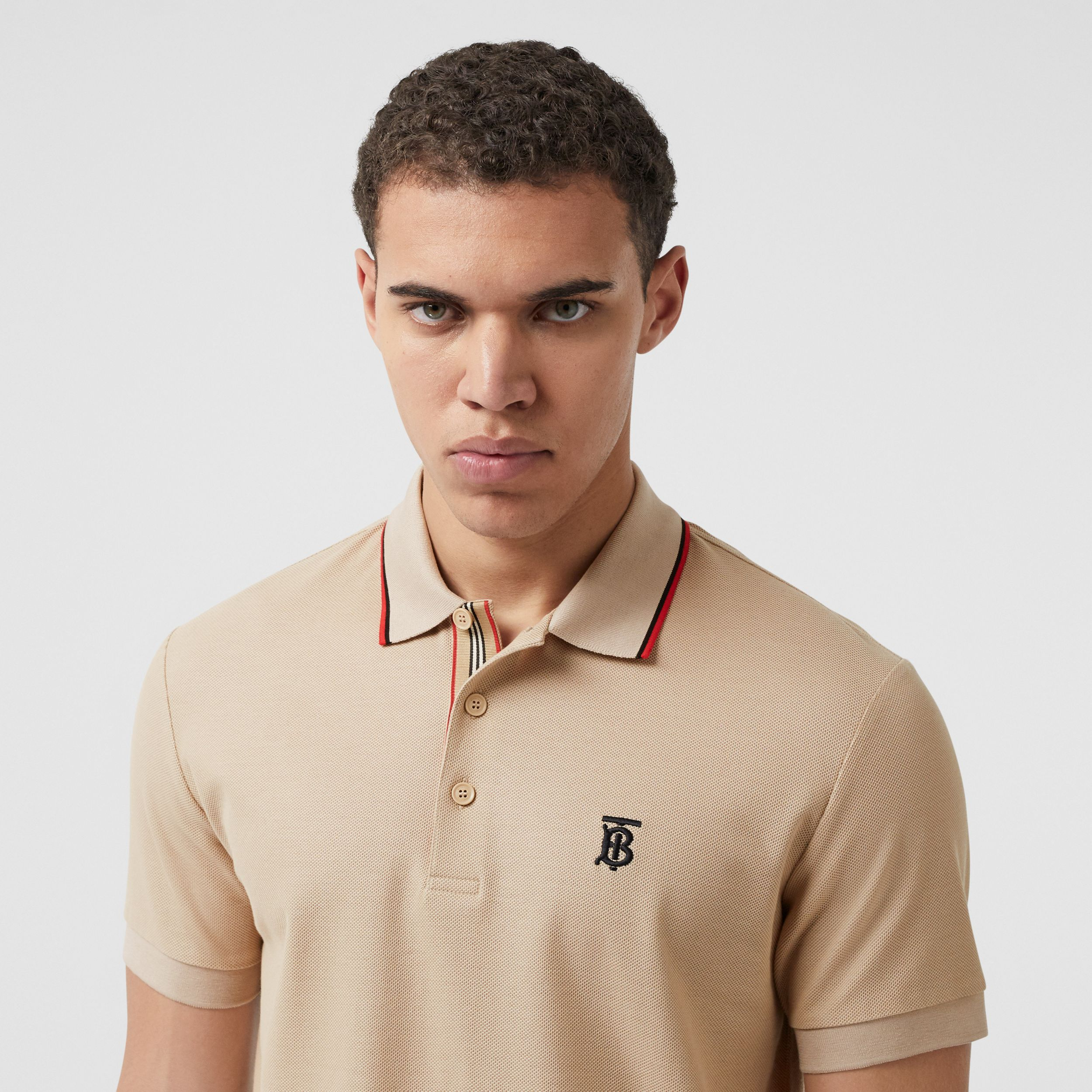 Monogram Motif Cotton Piqué Polo Shirt in Soft Fawn - Men | Burberry - 2