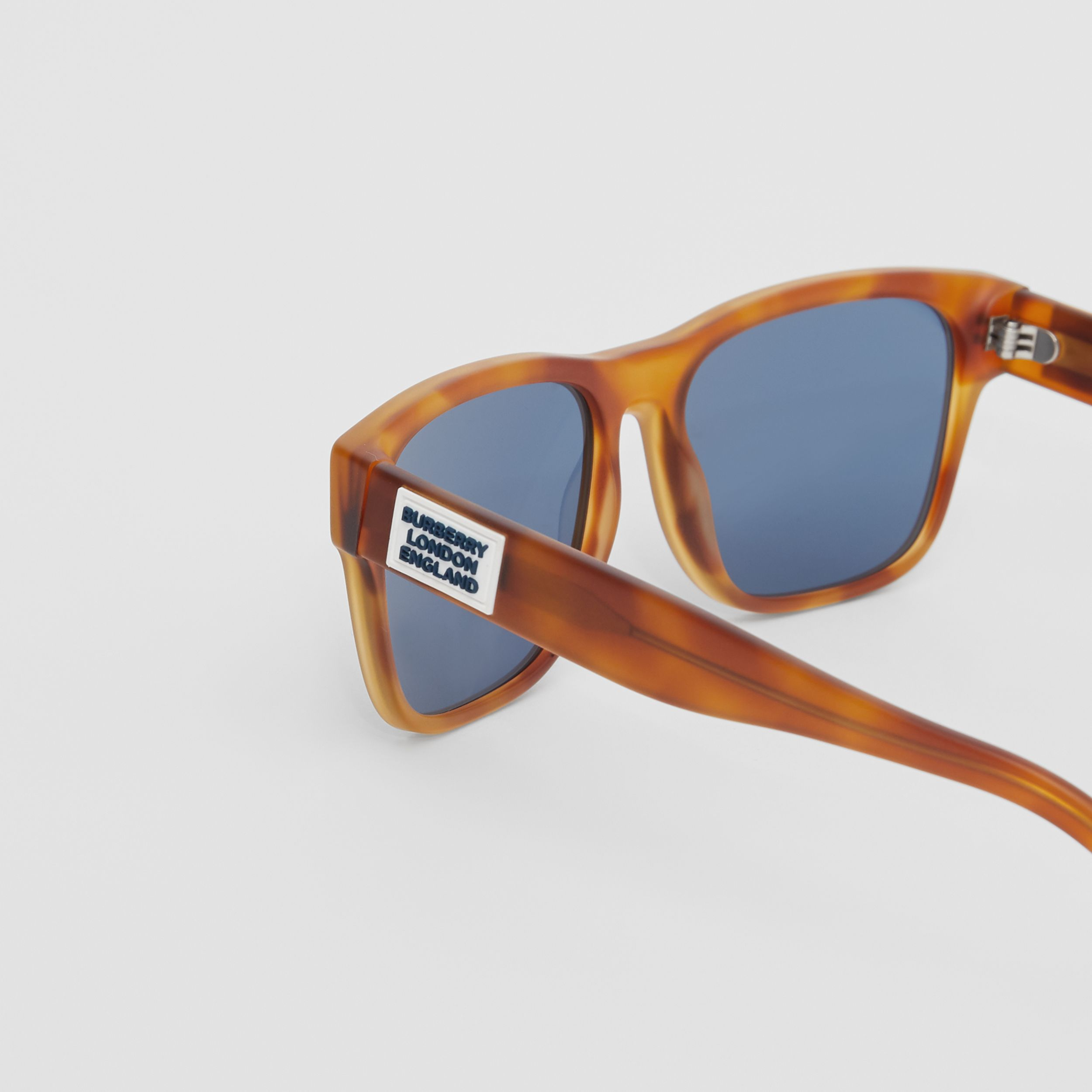 Logo Appliqué Square Frame Sunglasses in Tortoise Amber - Men | Burberry - 2