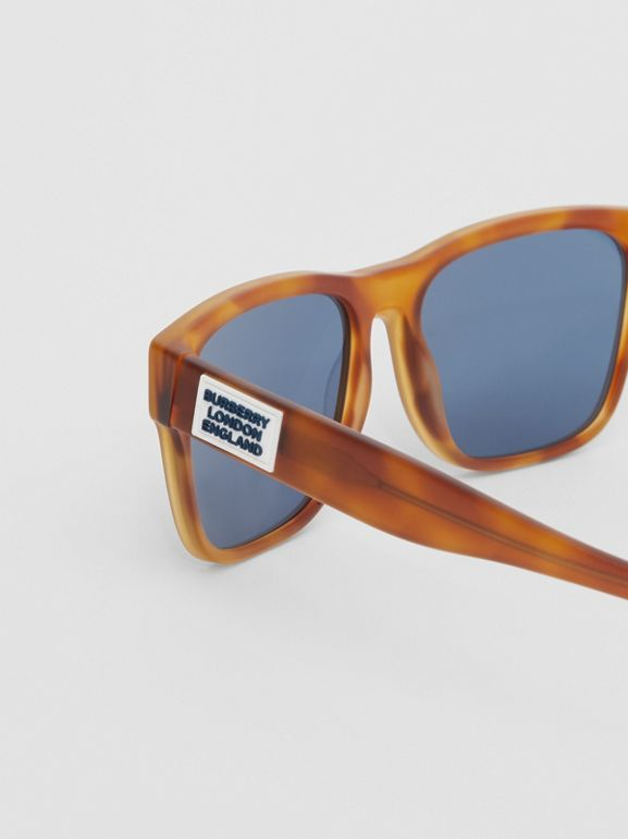 Logo Appliqué Square Frame Sunglasses in Tortoise Amber - Men | Burberry - cell image 1