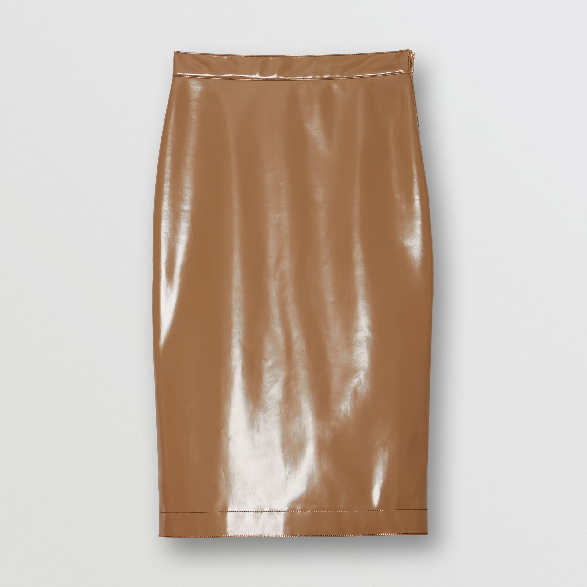 Vinyl Pencil Skirt in Utility Beige - Women | Burberry - gallery image 3