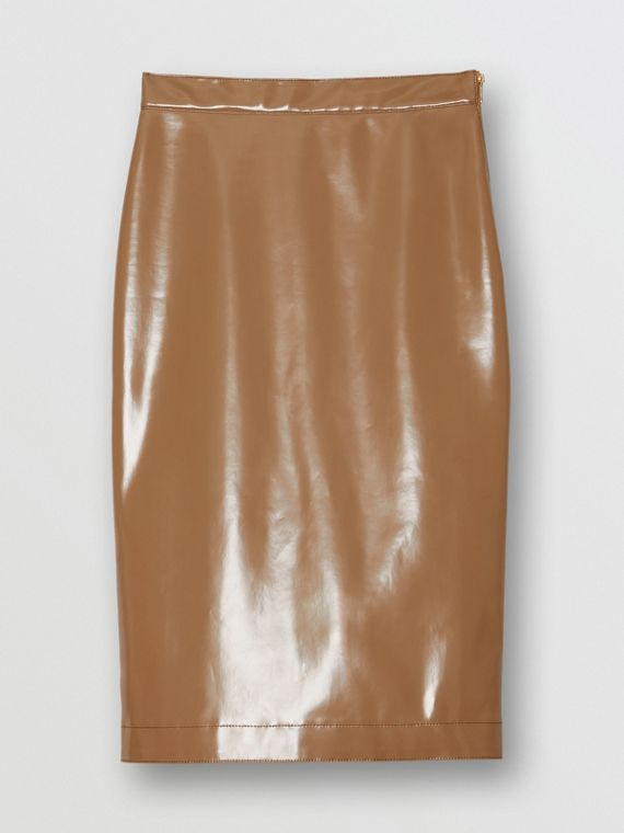 Vinyl Pencil Skirt in Utility Beige