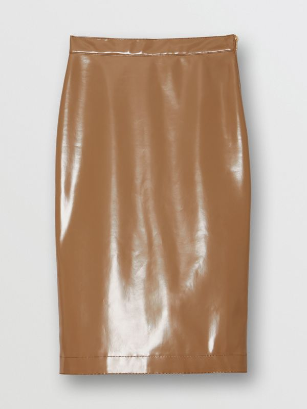Vinyl Pencil Skirt in Utility Beige - Women | Burberry - cell image 3
