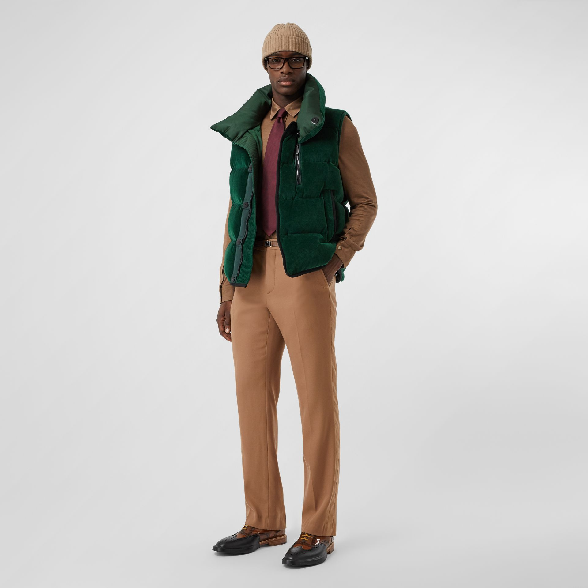 Satin Trim Chenille Puffer Gilet in Pine Green - Men | Burberry Singapore - gallery image 0