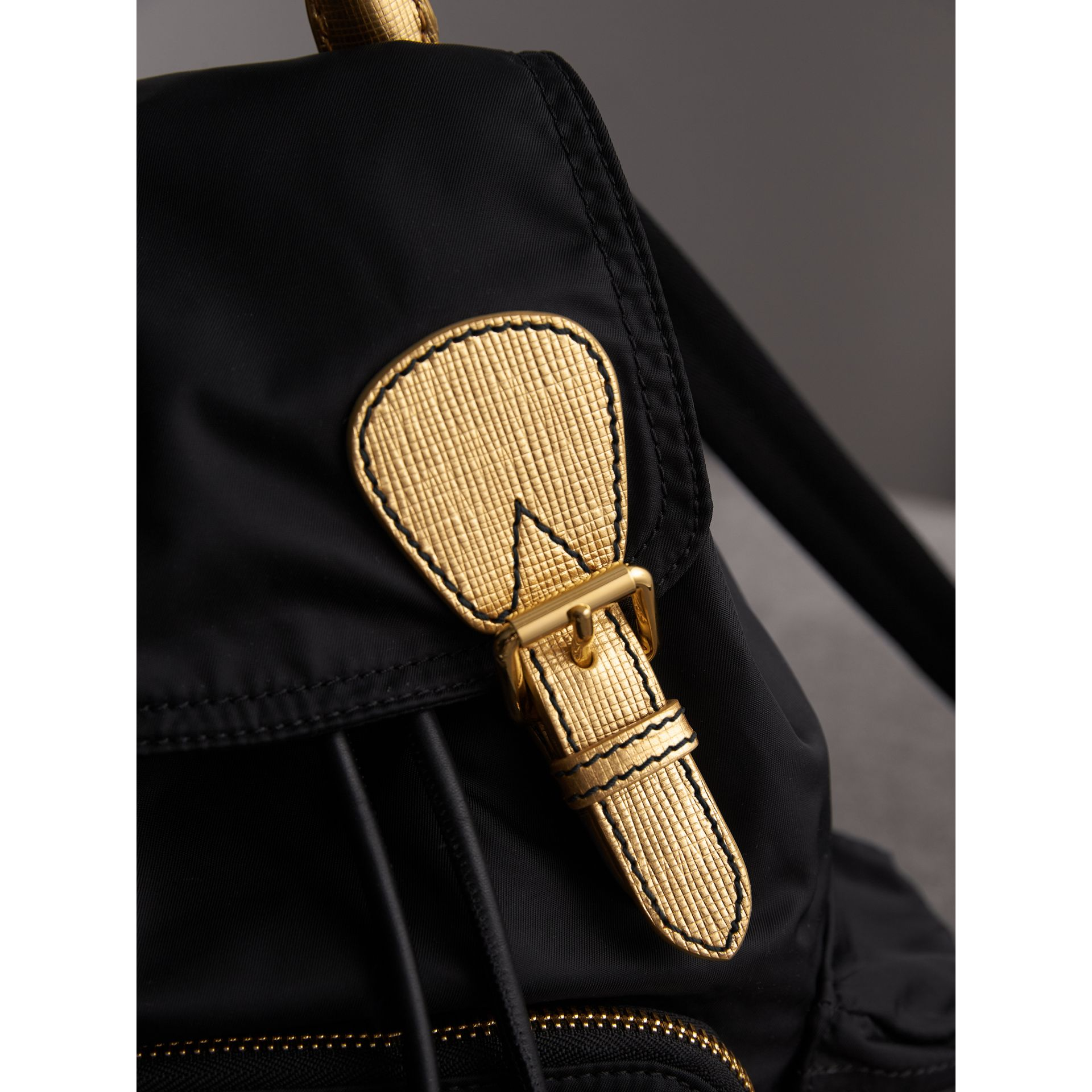 The Medium Rucksack in Two-tone Nylon and Leather in Black/gold - Women | Burberry - gallery image 5