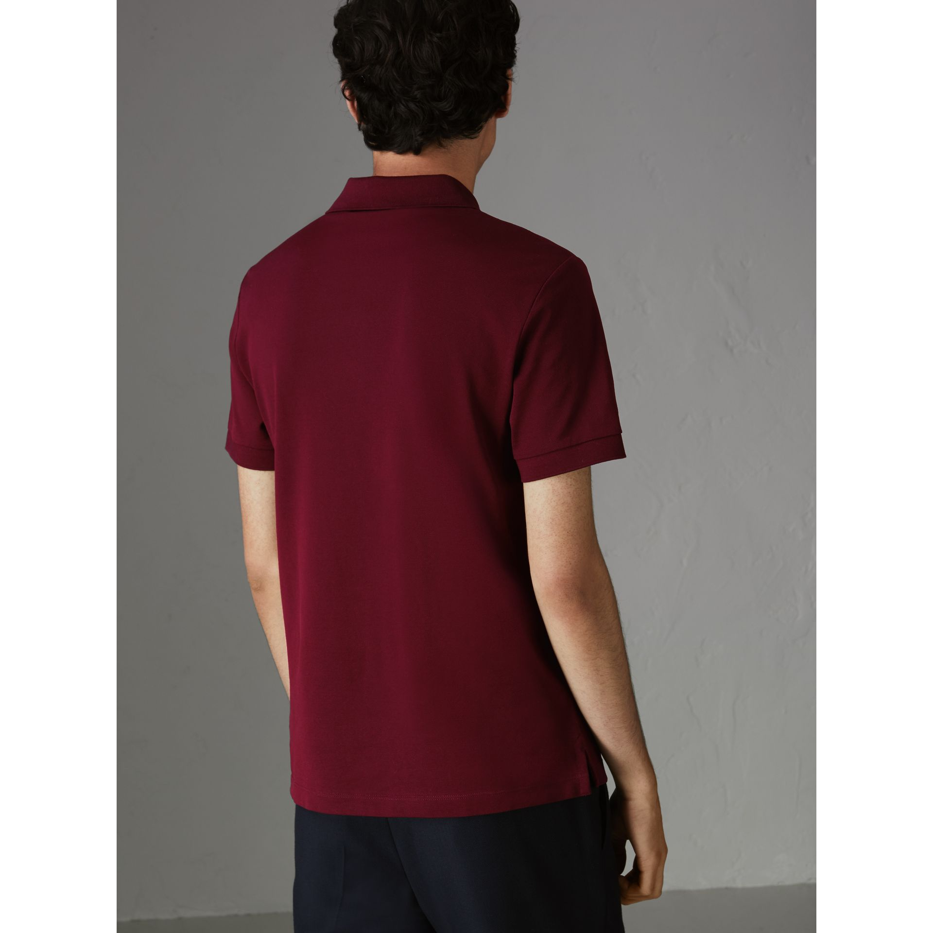 Painted Button Cotton Piqué Polo Shirt in Burgundy Red - Men | Burberry Australia - gallery image 2