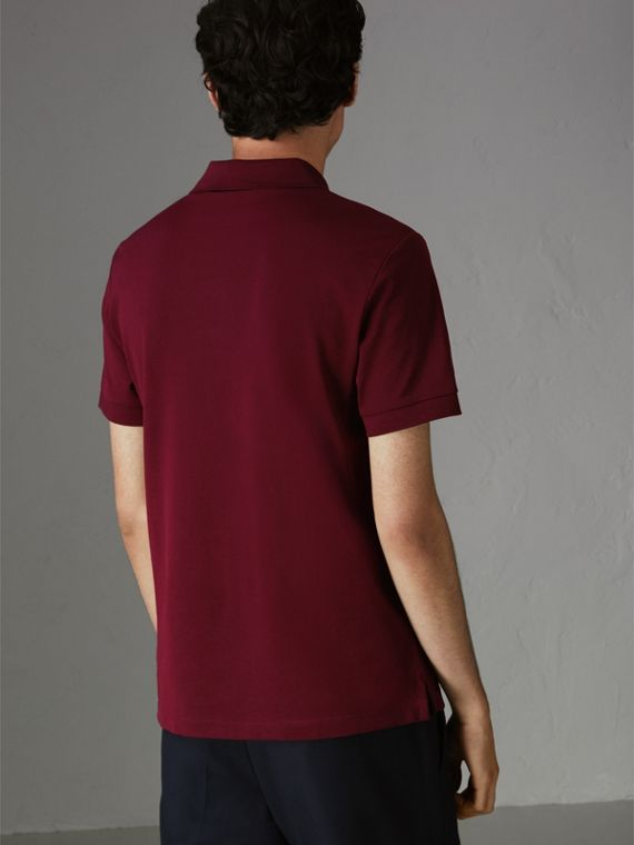 Painted Button Cotton Piqué Polo Shirt in Burgundy Red - Men | Burberry - cell image 2