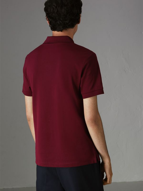 Painted Button Cotton Piqué Polo Shirt in Burgundy Red - Men | Burberry Australia - cell image 2
