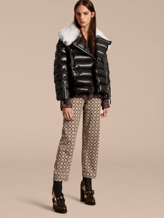 Detachable Fur Collar Oversize Down-filled Glossy Puffer