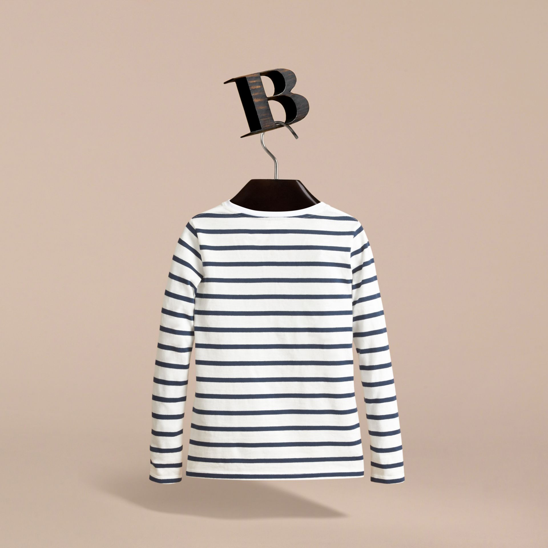 Pallas Heads Motif Breton Stripe Cotton Top in Indigo | Burberry Australia - gallery image 4