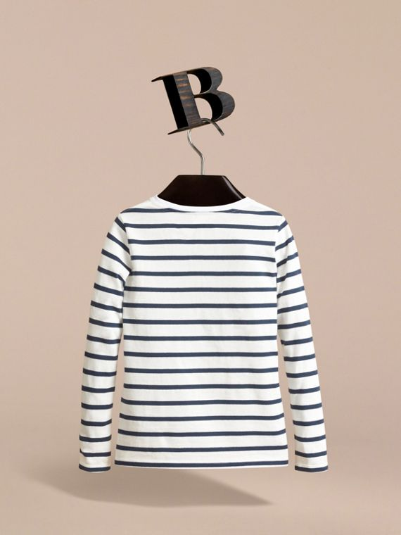 Pallas Heads Motif Breton Stripe Cotton Top | Burberry - cell image 3