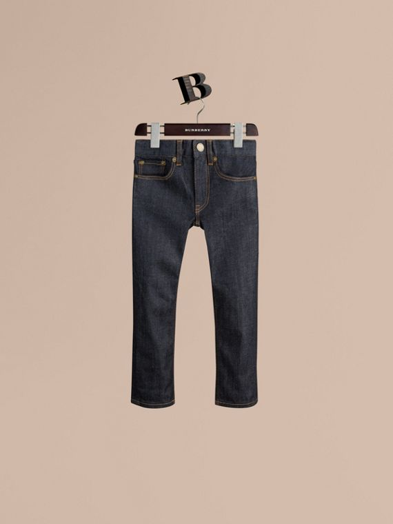 Jeans attillati in cotone stretch indaco