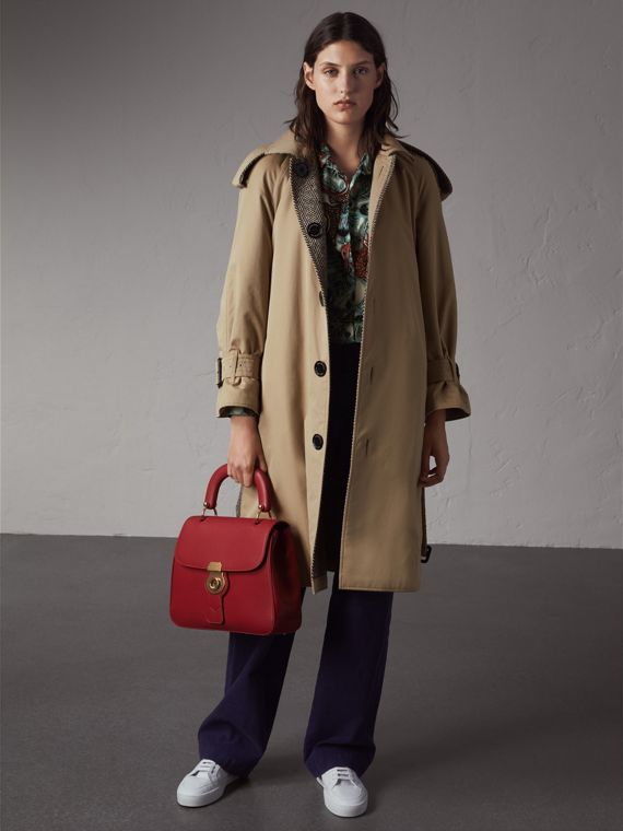 Trench coat in gabardine e tweed Donegal double face (Bianco Naturale/nero)