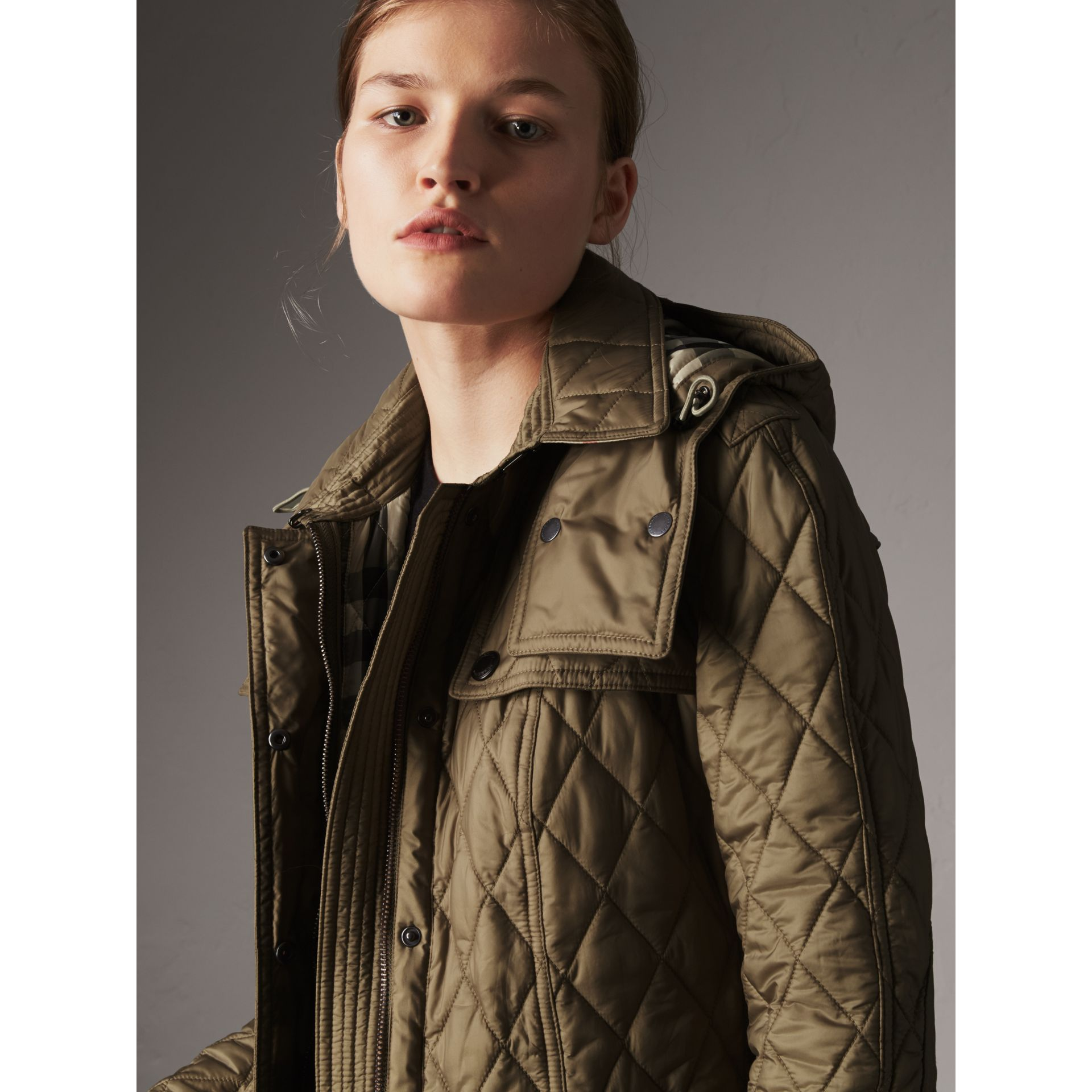 Quilted Trench Jacket with Detachable Hood in Pale Fawn - Women | Burberry - gallery image 6