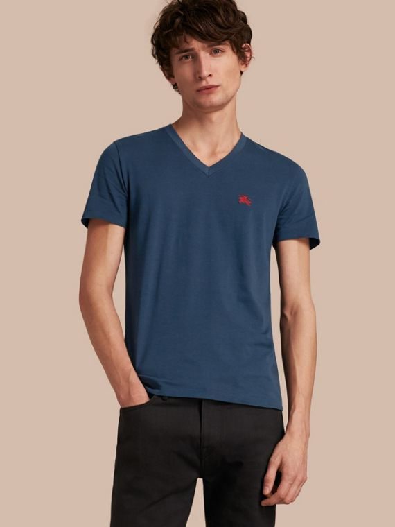 T-shirt in cotone con scollo a V Navy