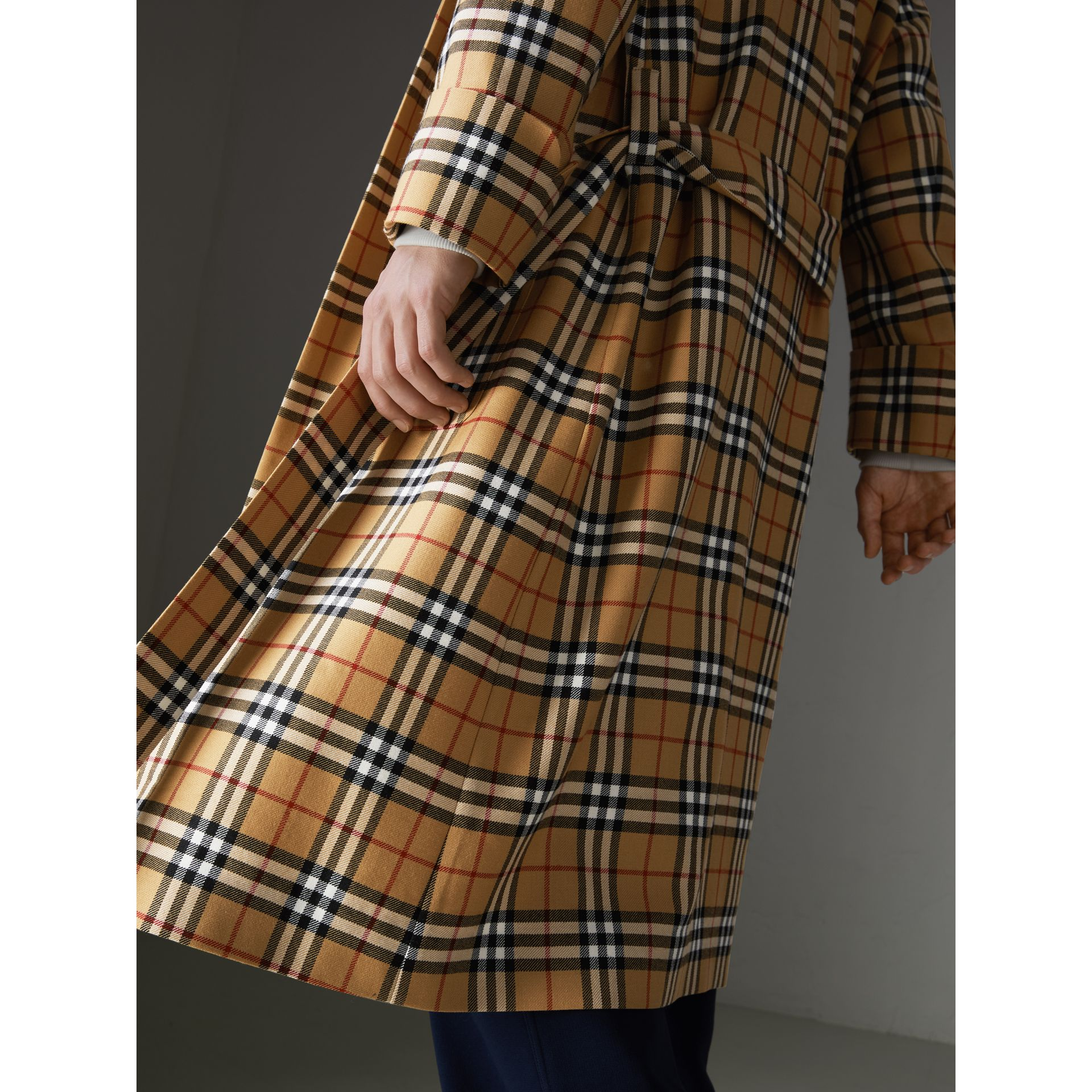 Reissued Vintage Check Dressing Gown Coat in Antique Yellow - Men | Burberry Australia - gallery image 1