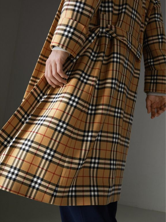 Reissued Vintage Check Dressing Gown Coat in Antique Yellow - Men | Burberry Australia - cell image 1