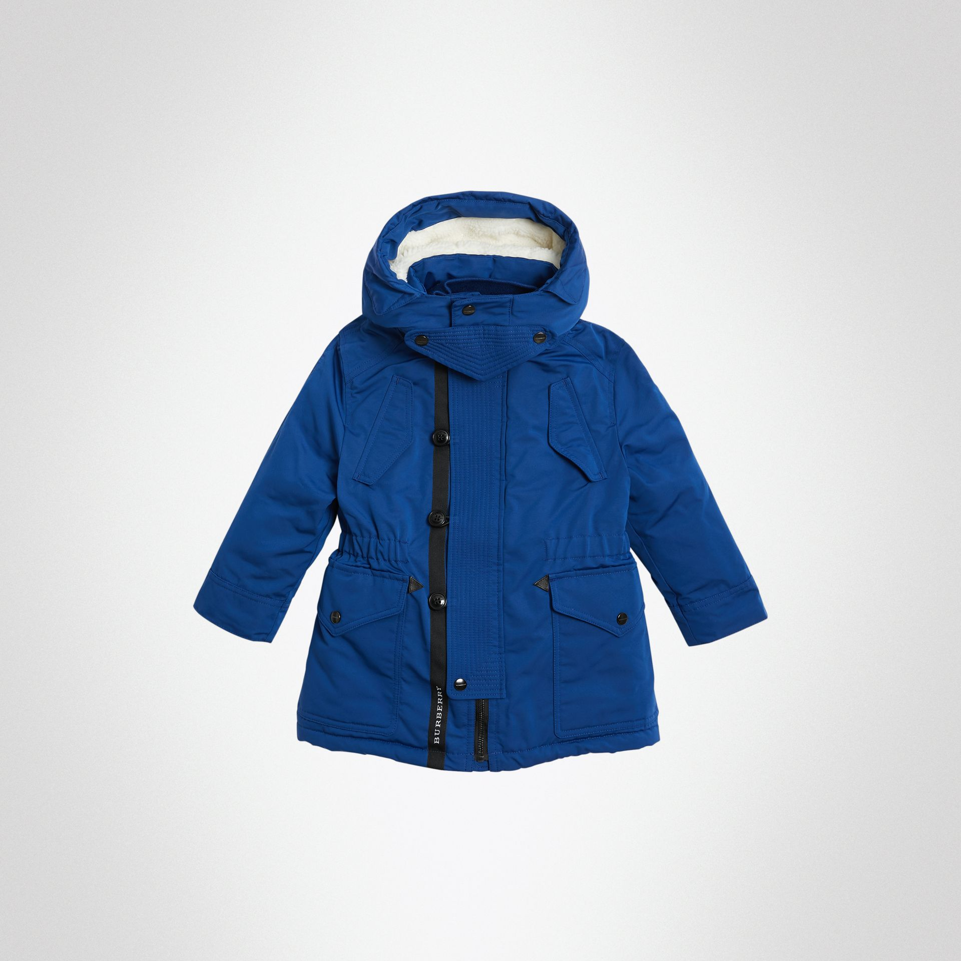 Detachable Hood Down-filled Parka Coat in Bright Cobalt | Burberry Singapore - gallery image 0