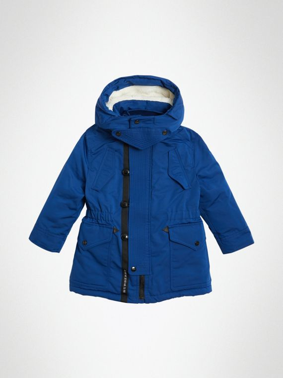 Detachable Hood Down-filled Parka Coat in Bright Cobalt