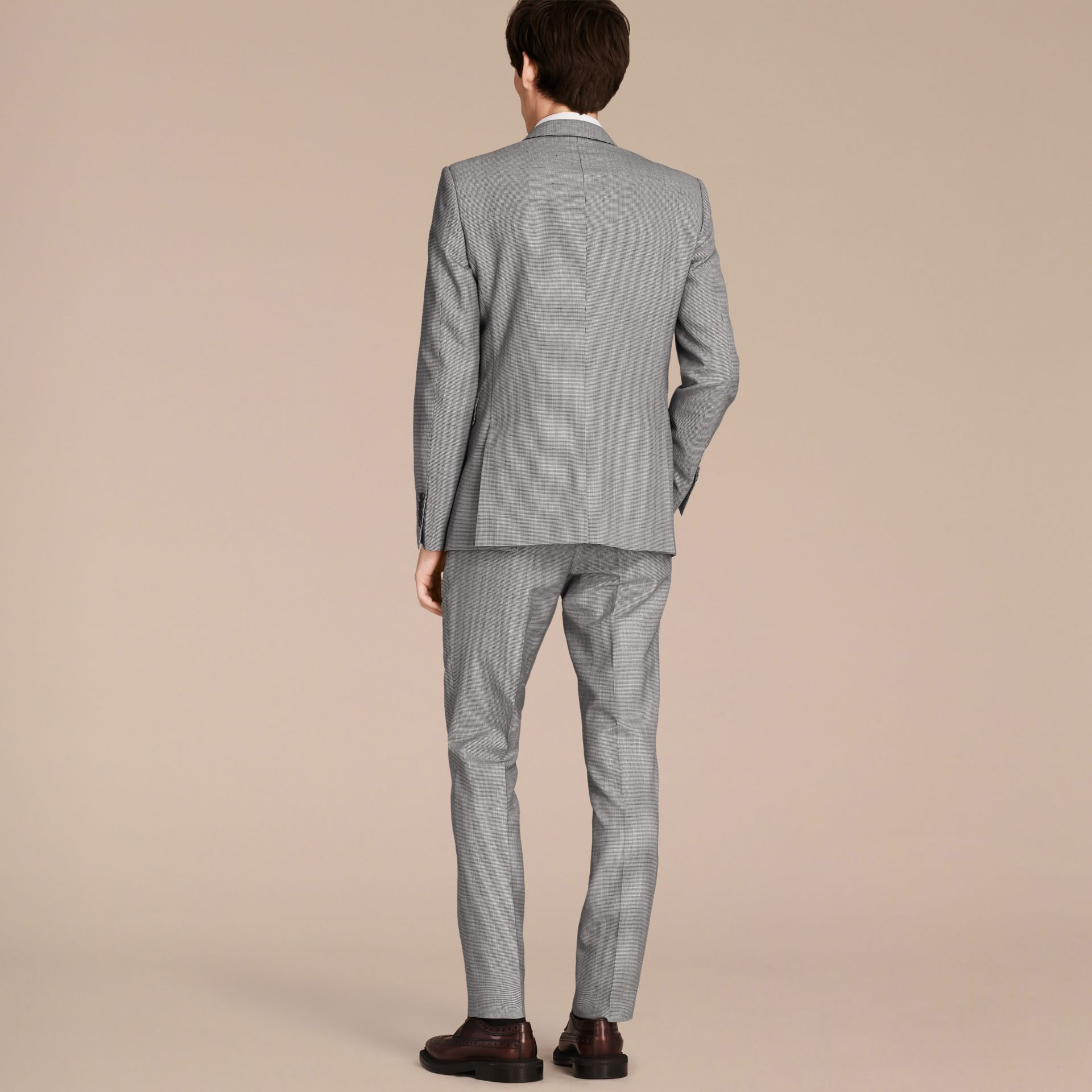 Slim Fit Puppy Tooth Wool Linen and Silk Part-canvas Suit - gallery image 3