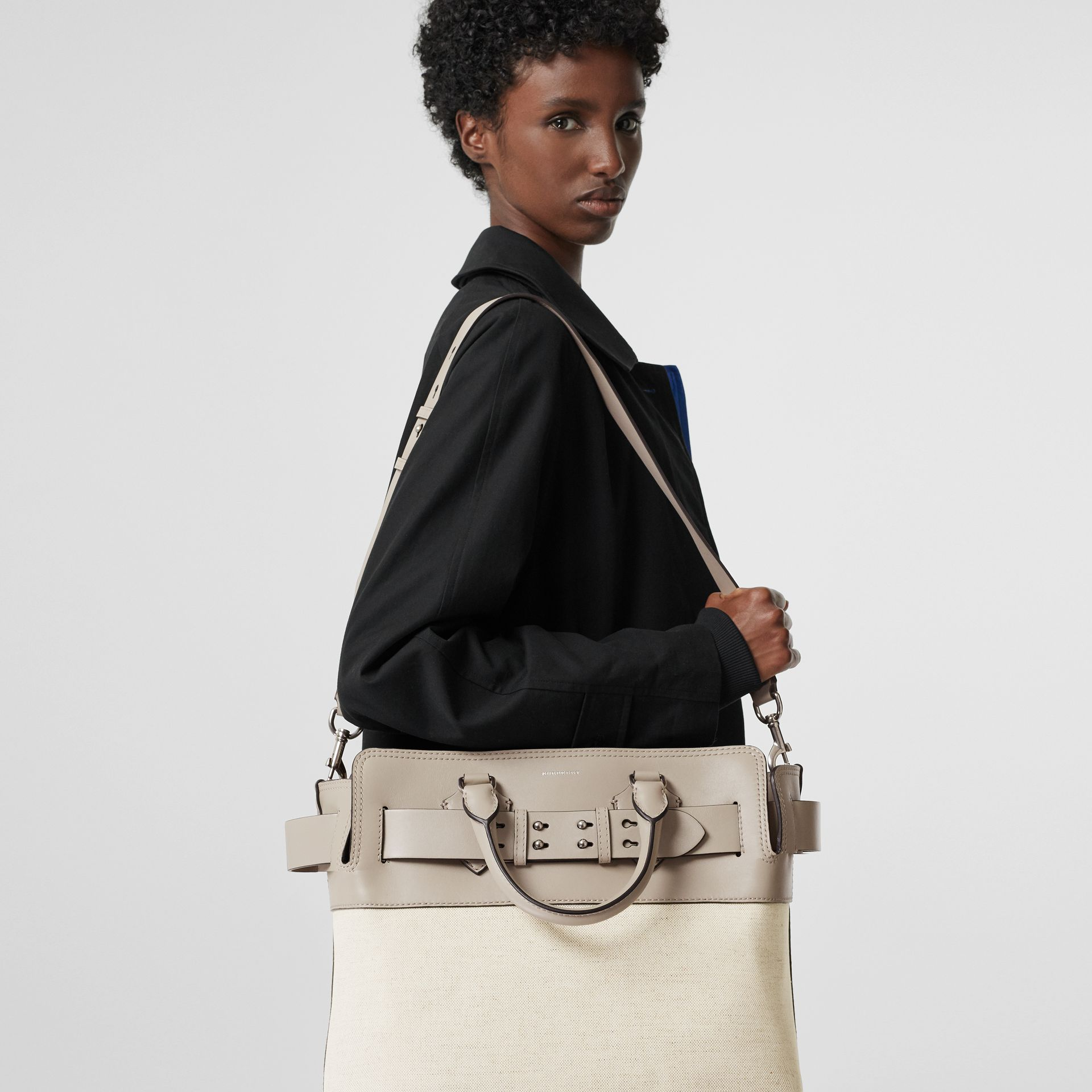 The Medium Canvas and Leather Belt Bag in Grey/stone - Women | Burberry - gallery image 3