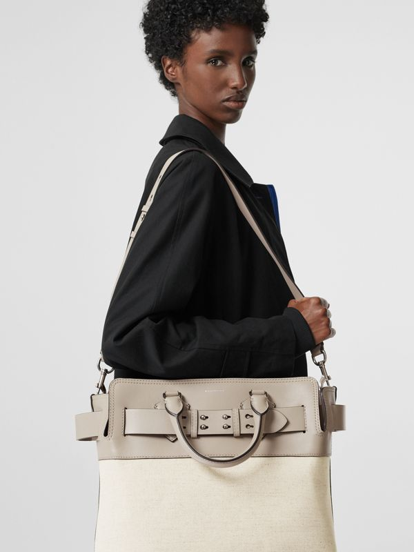 The Medium Canvas and Leather Belt Bag in Grey/stone - Women | Burberry - cell image 3