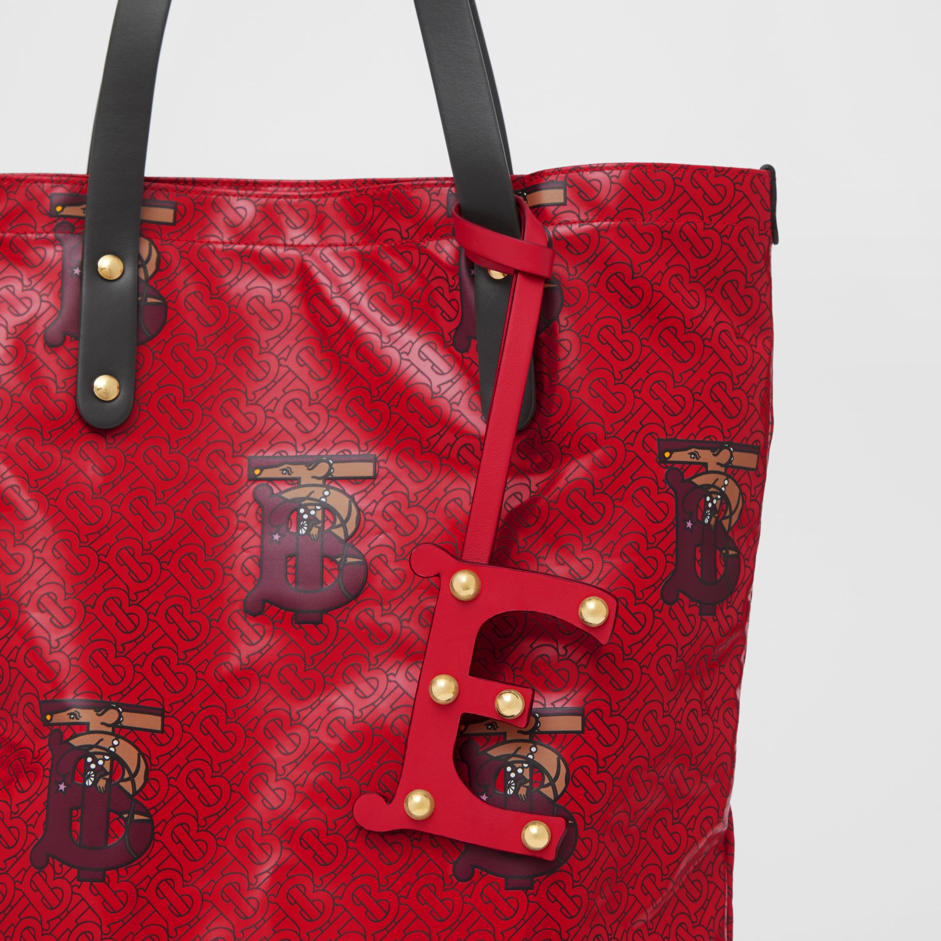 'E' Studded Leather Alphabet Charm in Red/light Gold - Women | Burberry - gallery image 3