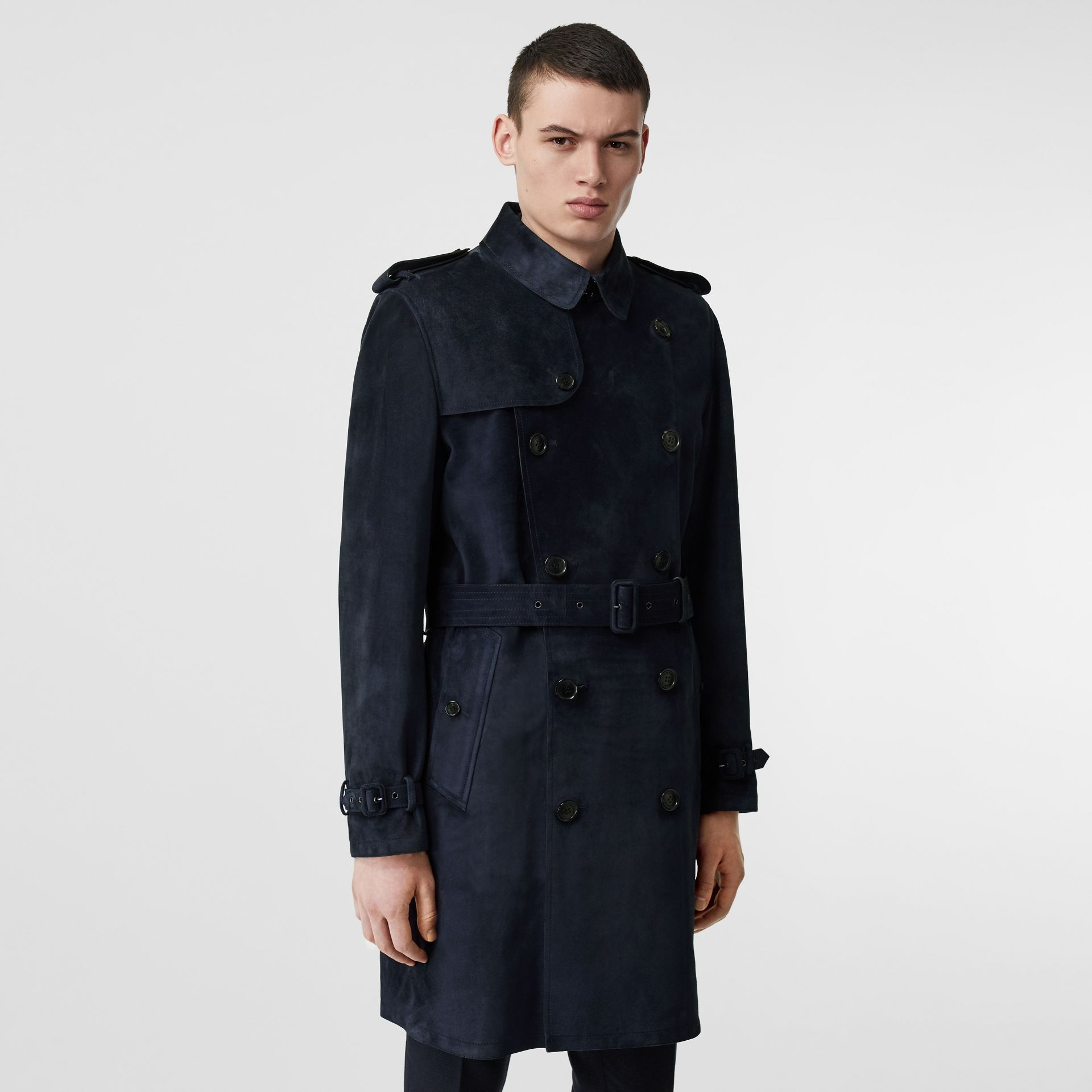 Suede Trench Coat in Navy - Men | Burberry - gallery image 6