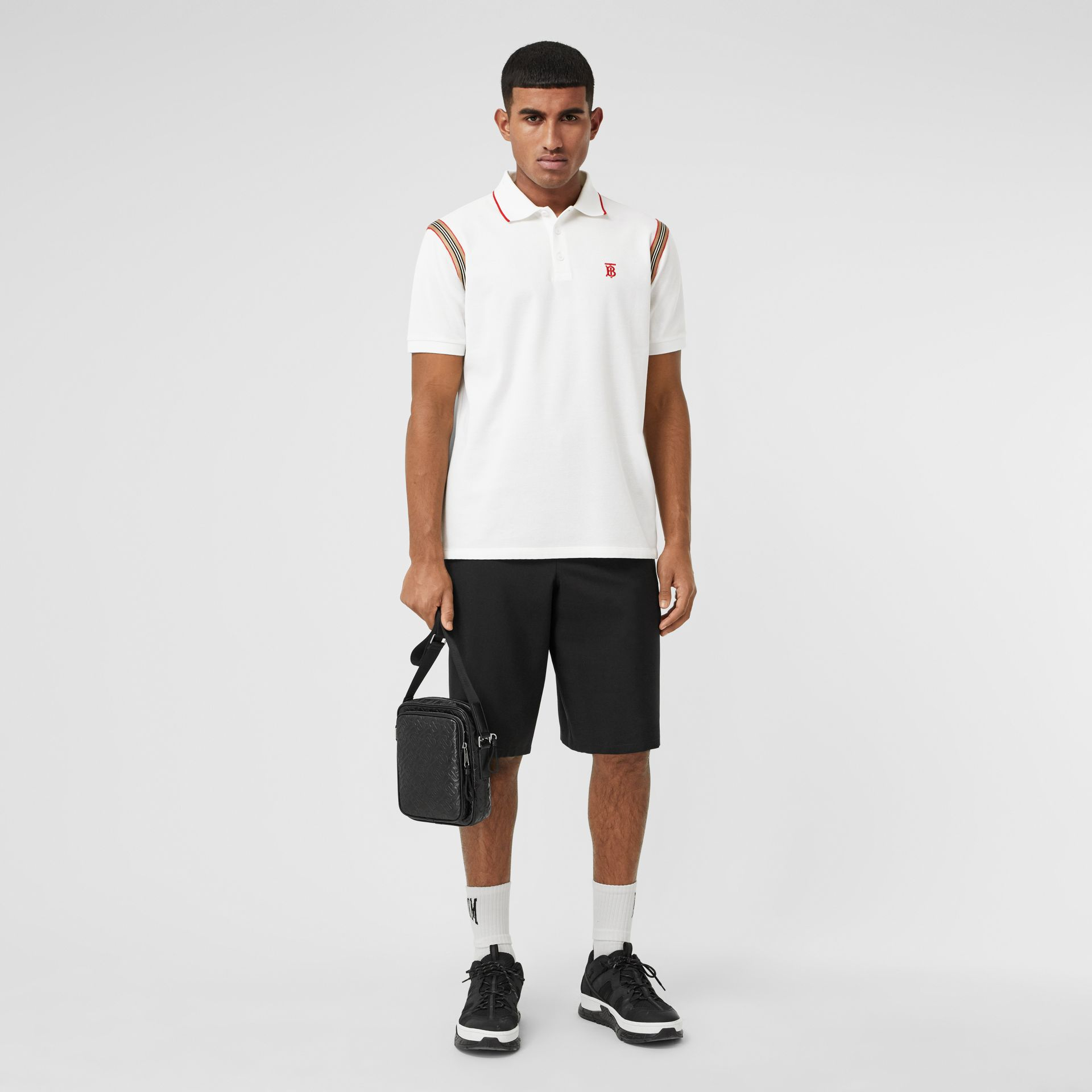 Icon Stripe Trim Monogram Motif Cotton Polo Shirt in White - Men | Burberry - gallery image 4