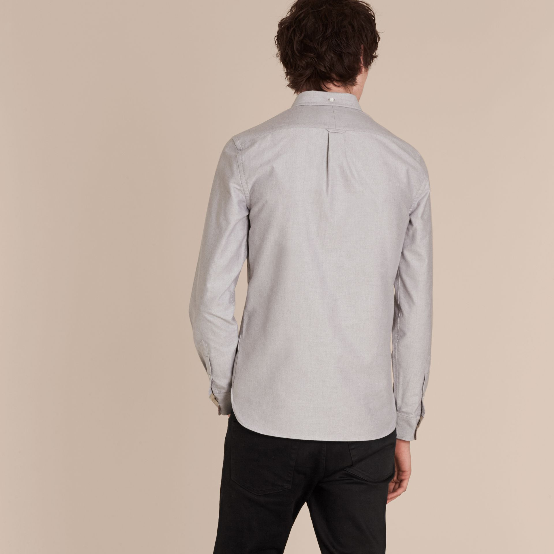 Cotton Oxford Shirt in Charcoal - Men | Burberry United Kingdom - gallery image 3