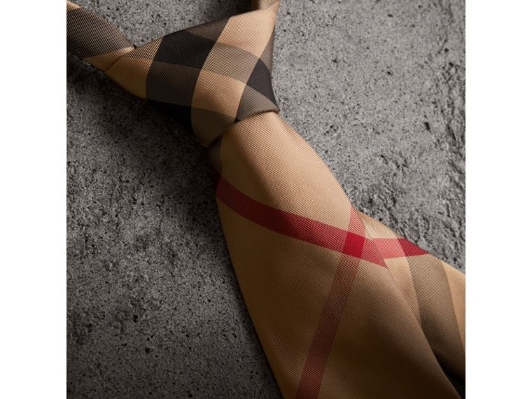 Modern Cut Check Silk Tie in Camel - Men | Burberry Singapore - cell image 1