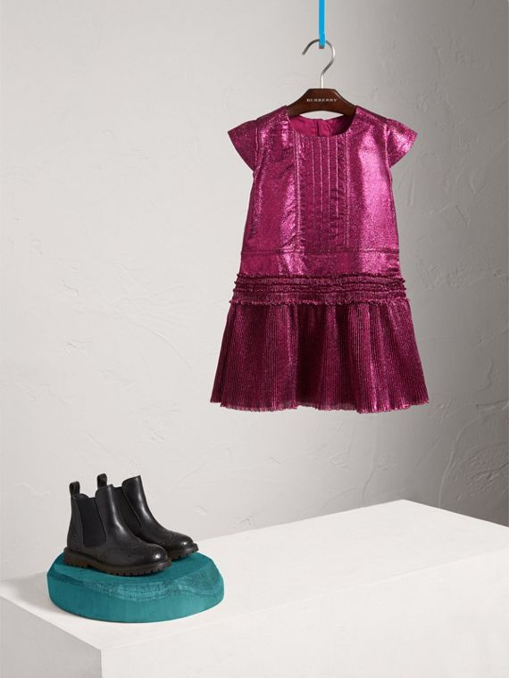 Frill Detail Lamé Dress in Bright Fuchsia | Burberry - cell image 2