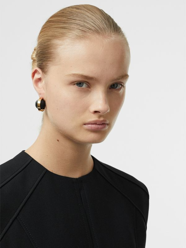 Marbled Resin Gold-plated Hoop Earrings in Light Gold/midnight - Women | Burberry - cell image 2