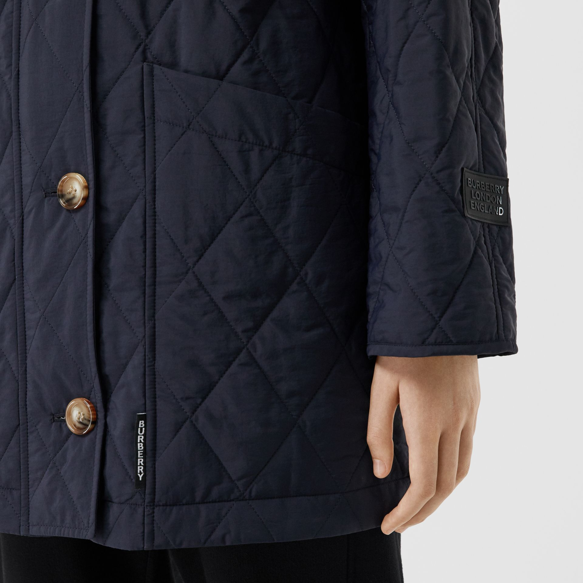 Diamond Quilted Thermoregulated Hooded Coat in Navy - Women | Burberry Australia - gallery image 4