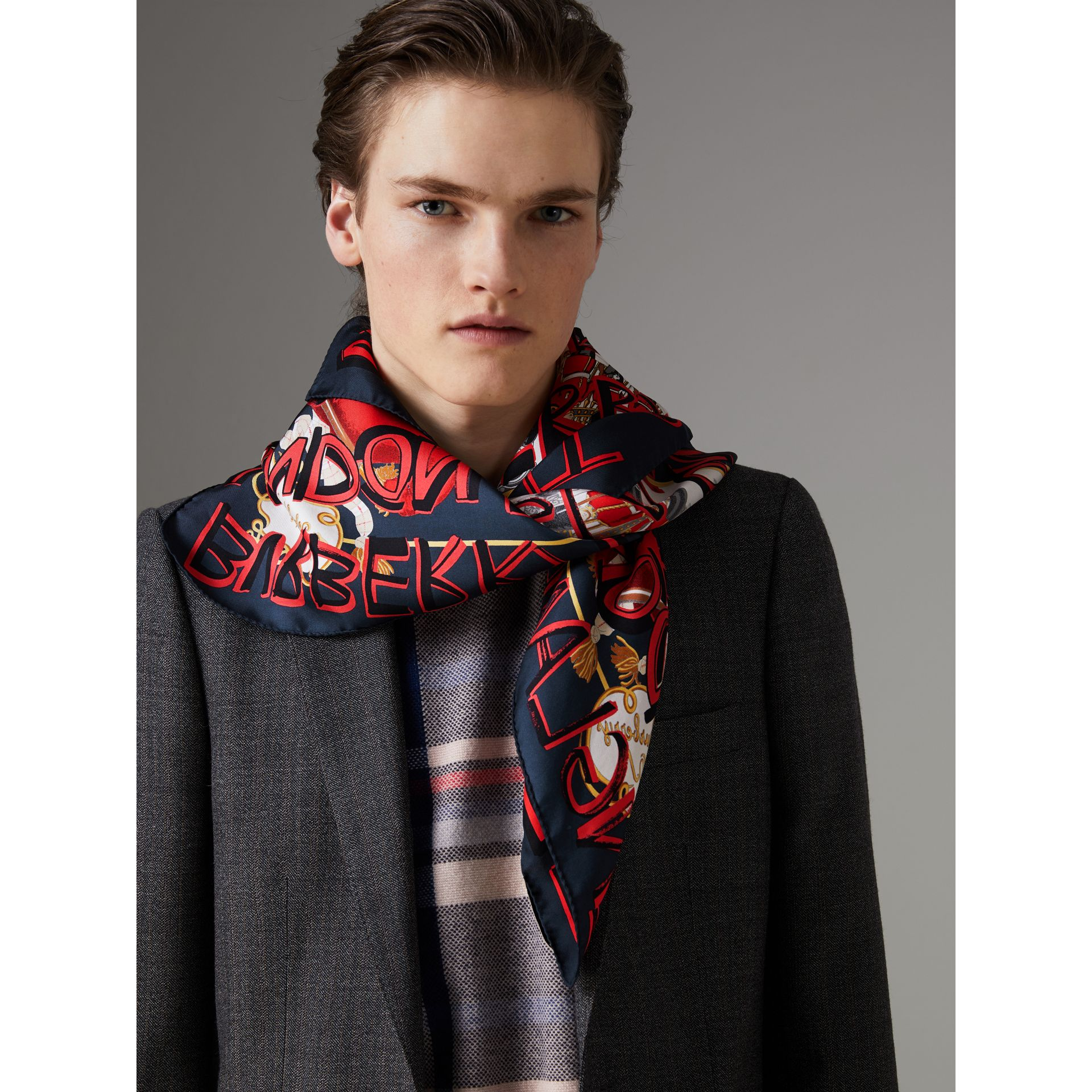 Graffiti Archive Scarf Print Silk Square Scarf in Navy | Burberry - gallery image 5