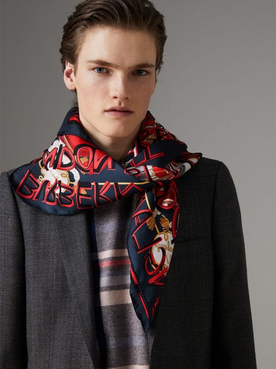 Graffiti Archive Scarf Print Silk Square Scarf in Navy