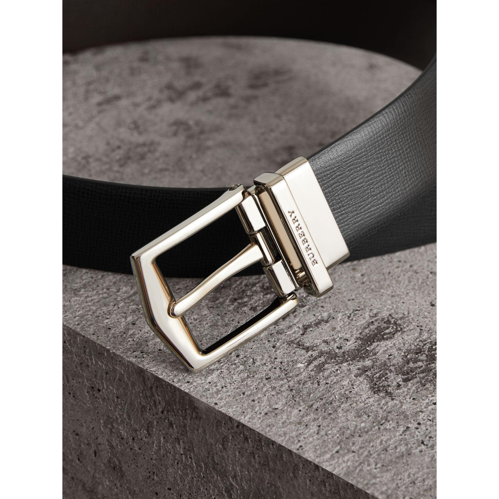 Reversible London Leather Belt in Black/chocolate - Men | Burberry - gallery image 2