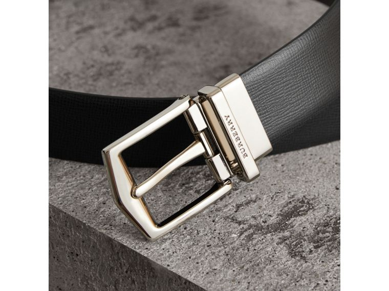 Reversible London Leather Belt in Black/chocolate - Men | Burberry Singapore - cell image 1