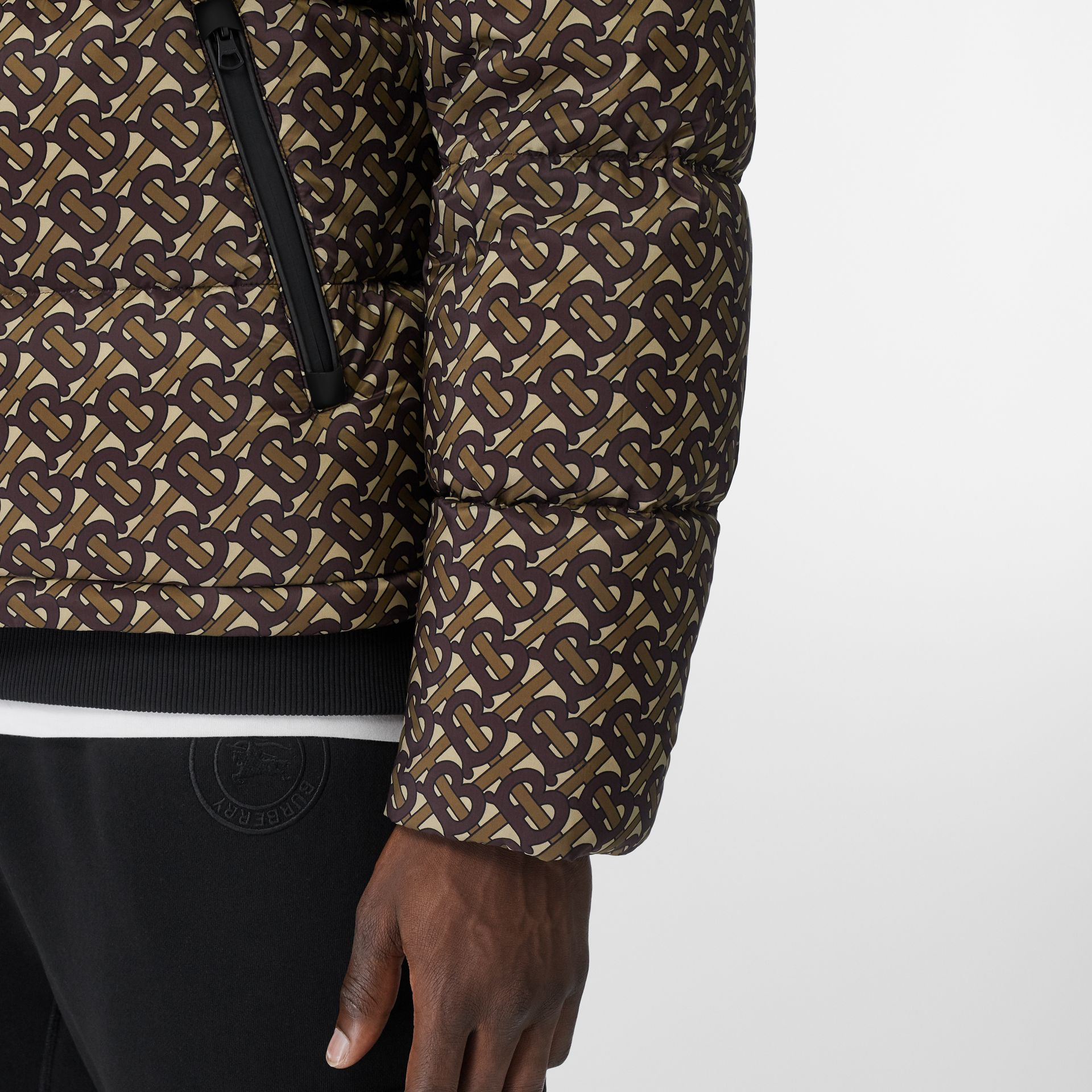Detachable Sleeve Monogram Print Puffer Jacket in Bridle Brown - Men | Burberry Singapore - gallery image 4