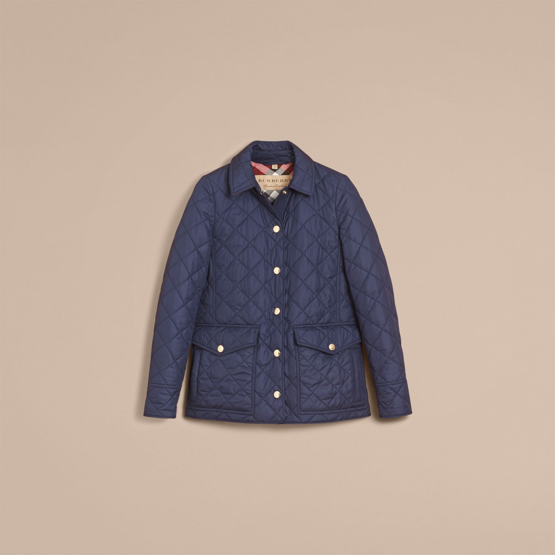 Check Detail Diamond Quilted Jacket in Navy - Women | Burberry - gallery image 4