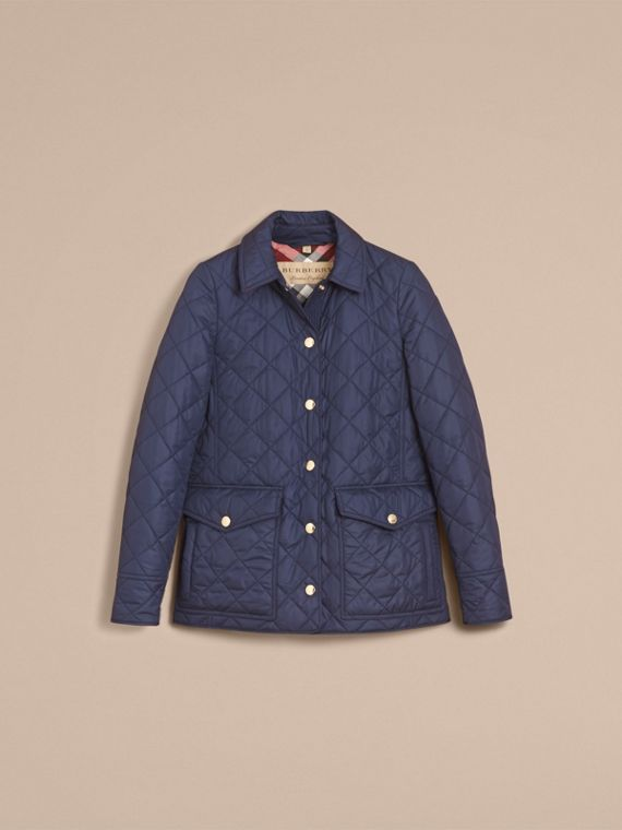 Check Detail Diamond Quilted Jacket in Navy - Women | Burberry United Kingdom - cell image 3