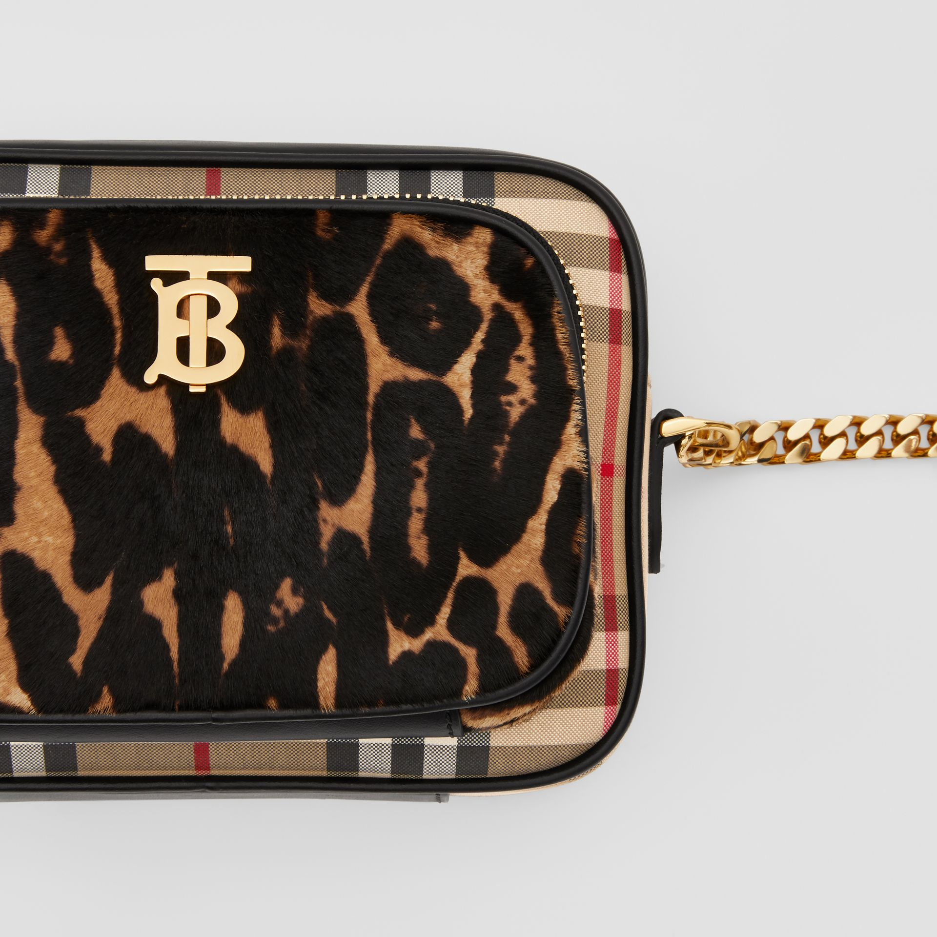 Vintage Check and Leopard Print Calf Hair Camera Bag in Black | Burberry - gallery image 1