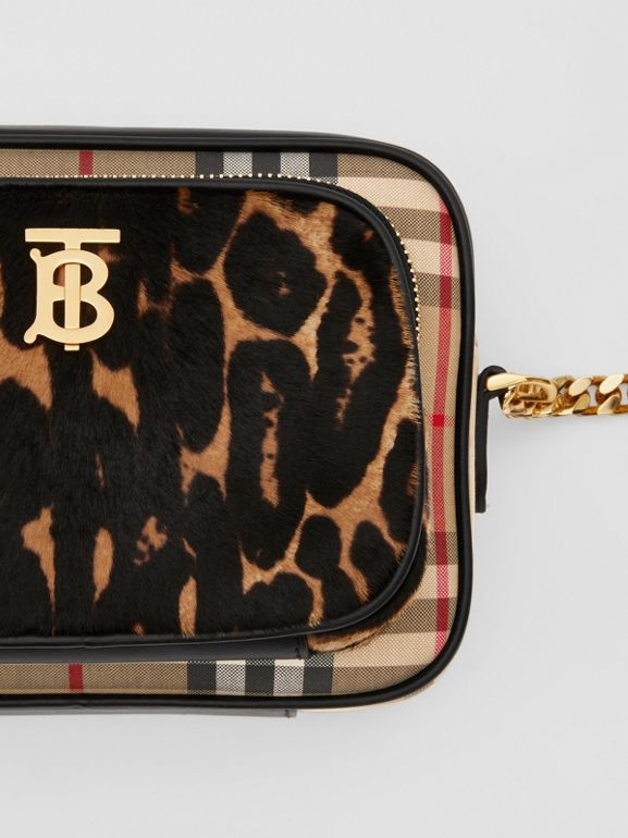 Vintage Check and Leopard Print Calf Hair Camera Bag in Black | Burberry - cell image 1