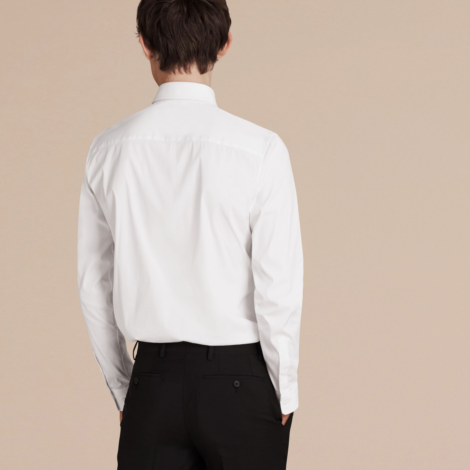 Slim Fit Stretch Cotton Shirt in White - Men | Burberry Singapore - gallery image 2