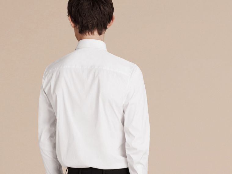 Slim Fit Stretch Cotton Shirt in White - cell image 1